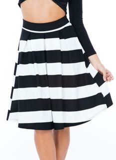Bring Ur A-Line Game Striped Skirt