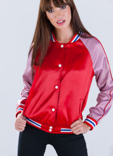 Retro Satin Bomber Jacket
