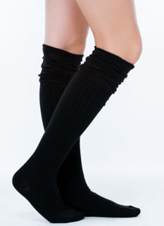 Ribbed And Famous Thigh-High Socks