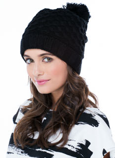 Net Worth Knit Pom-Pom Beanie