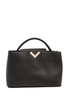 Metallic V Pebbled Faux Leather Bag