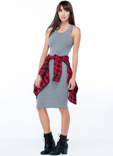 Ribbed Apart Racerback Midi Dress
