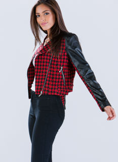 Houndstooth Mixed Media Moto Jacket