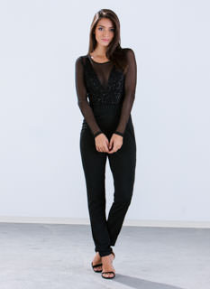 Sheer 'N Glitzy Sequin Jumpsuit