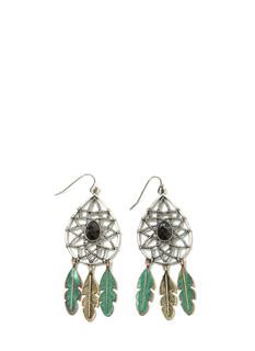 Dream Catcher Faux Jewel Earrings