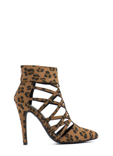 Part Leopard Platform Wedge Booties