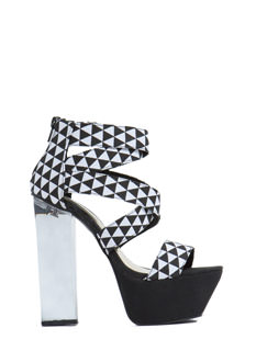 Illusionist Canvas Geo Lucite Heels
