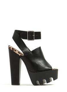Rugged Terrain Faux Leather Heels