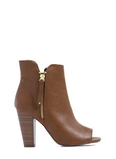 Werking Girl Zipped Peep-Toe Booties