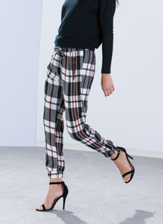 Pixel Perfect Zippered Plaid Joggers