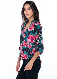 Flower Shop Flowy Surplice Blouse