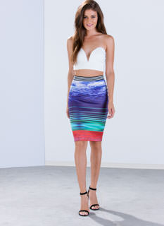 Cloudscape Graphic Pencil Skirt