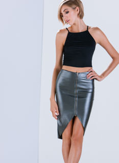 Zipped Into Shape Faux Leather Skirt