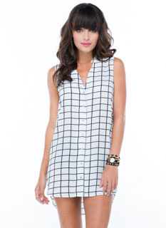 Grid-Time Girl Shift Dress