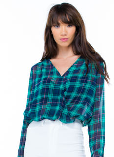 Better In Plaid Surplice Blouse