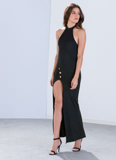 Nautical Button Slit Halter Maxi