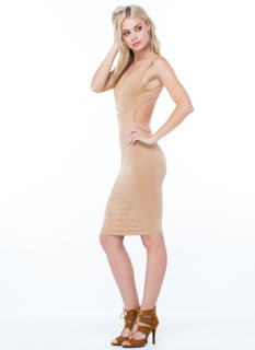 Minimalist Faux Suede Bodycon Dress