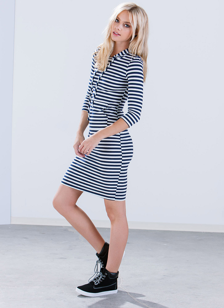 Love At First Stripe Hoodie Dress