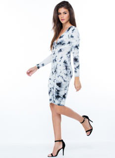 Ready Or Knot Draped Tie-Dye Dress