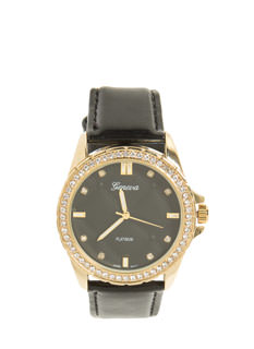Blinged Out Faux Leather Watch