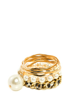 Chained Print-cess Pearly Bangle Set