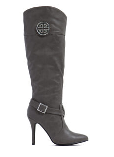 Medallion Babe Faux Leather Boots
