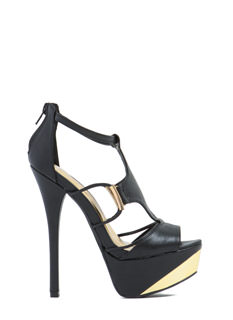 Hot Accent Faux Leather Heels
