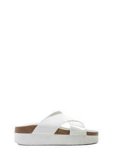 X Marks The Wide Strap Slide Sandals