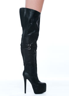 Holy Thigh High Faux Leather Boots