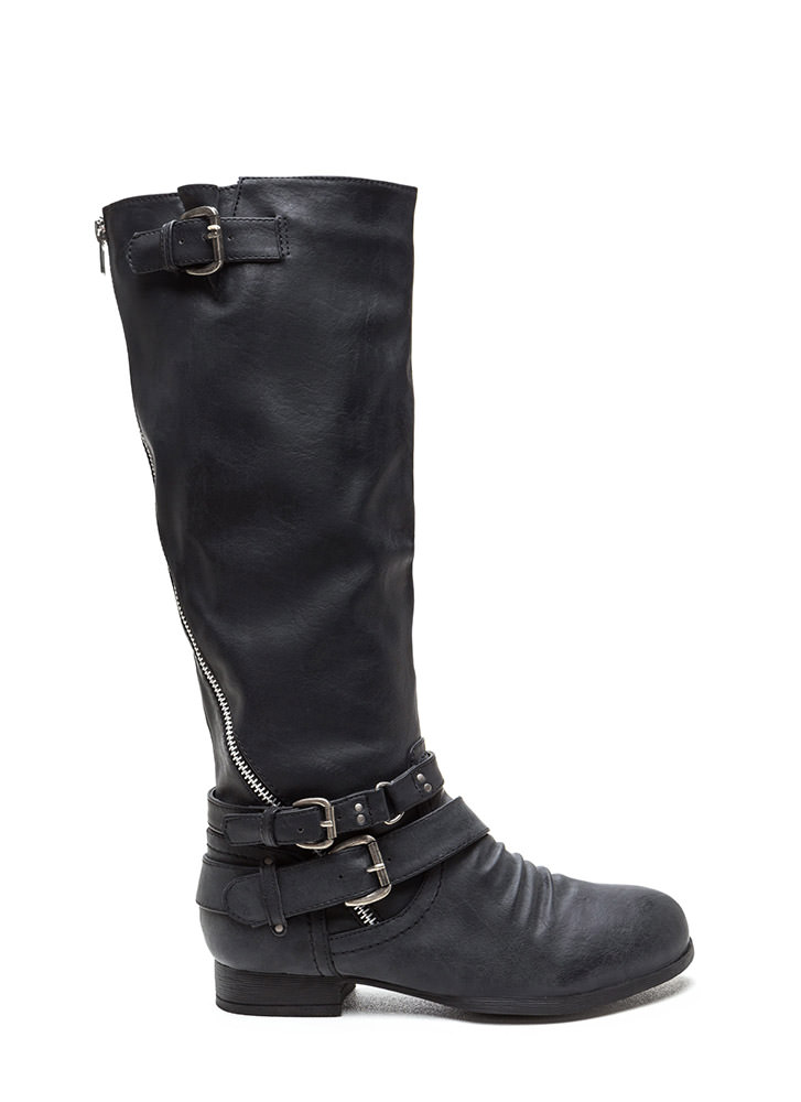 Hop On Faux Leather Moto Boots