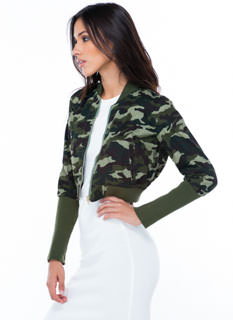 You Can't Hide Cropped Camo Jacket
