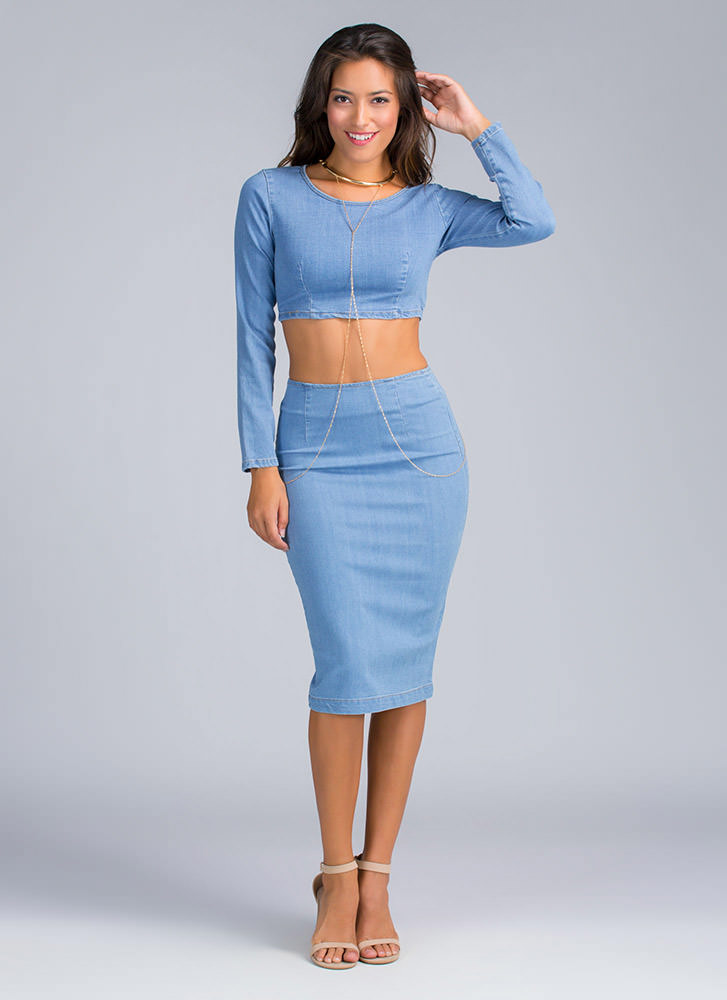 Dapper Denim Pencil Skirt