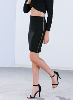 Ur The Boss Textured Pencil Skirt