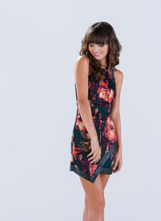 Jagged Edge Floral Mixed Media Dress
