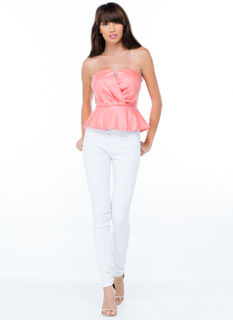 Heartbreaker Strapless Peplum Top