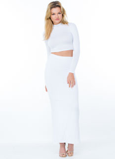 Main Chick Solid Slit Maxi Skirt