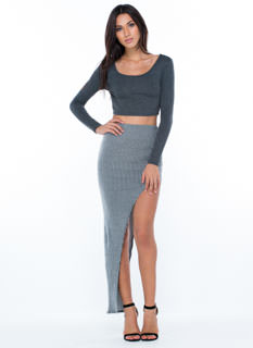 Ribbed Apart Cut-Out Maxi Skirt