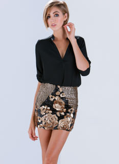 Sequin Of Events Floral Mini Skirt