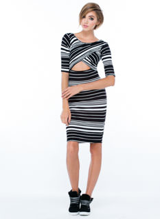 Stripe That Pose Bodycon Dress