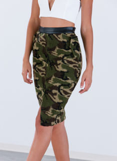 Blending In Camo Shearling Skirt
