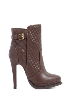 Quilty Look Faux Leather Booties