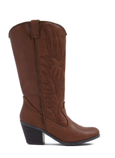 Western Flair Faux Leather Boots
