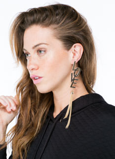 I Love Fringe Chain Tassel Earrings
