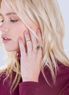 On Edgy Textured Ring Duo
