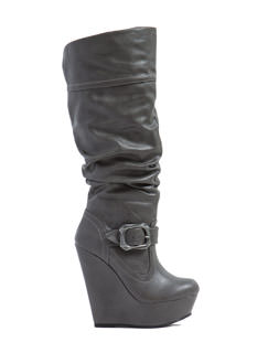 Slouch Factor Platform Wedge Boots