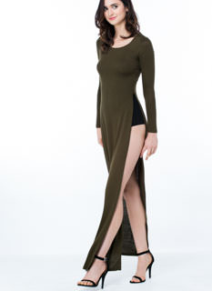 Solid Werk Double Slit Maxi Dress