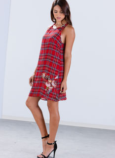 Kilt Trip Floral Plaid Shift Dress