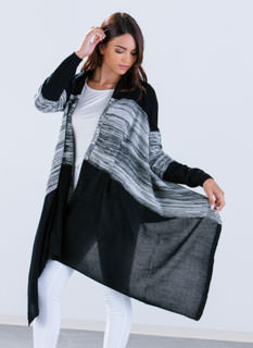 Marled Contrast Waterfall Cardigan