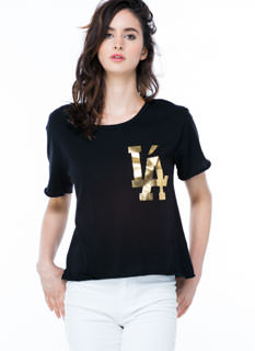 LA With An Accent Metallic Tee