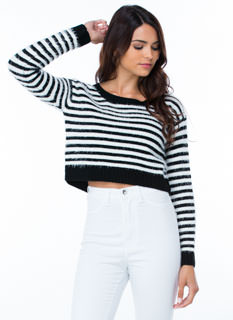 Fuzz Warning Striped Cropped Sweater
